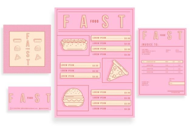 Modèle bicolore pour le menu du restaurant