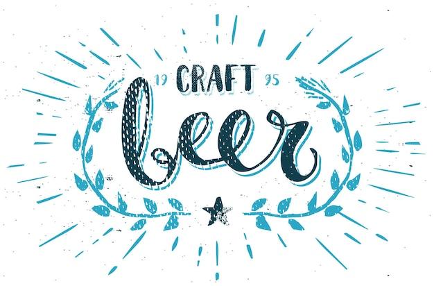 Modèle bière artisanale stylo calligraphie dessinés main brosse vecteur
