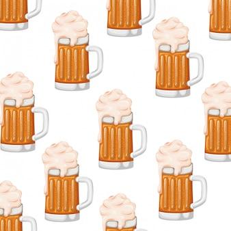 Modèle de bière avec icône isolé mousse