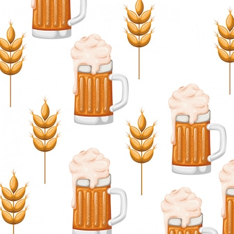 Modèle de bière avec icône mousse et blé