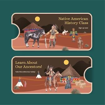 Modèle de billet avec amérindien dans un style aquarelle