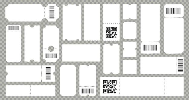 Modèle de billet de cinéma de concert. carton de loterie vide ou coupons papier. modèles nervurés avec code-barres ou code qr. ensemble isolé de vecteur