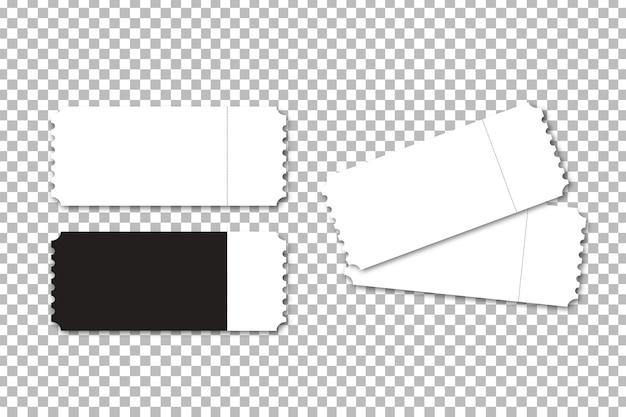 Modèle de billet de cinéma isolé réaliste pour la décoration et la couverture sur le fond transparent.