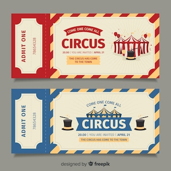 Modèle de billet de cirque plat