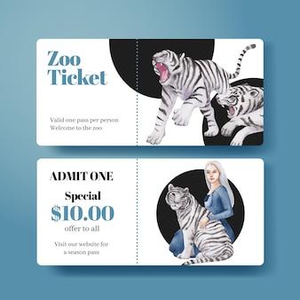 Modèle de billet avec le concept de la journée internationale du tigre, style aquarelle
