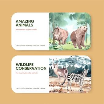 Modèle de billet avec le concept de la journée mondiale des animaux dans un style aquarelle