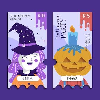 Modèle de billets halloween design plat