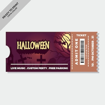 Modèle de billets d'halloween plats