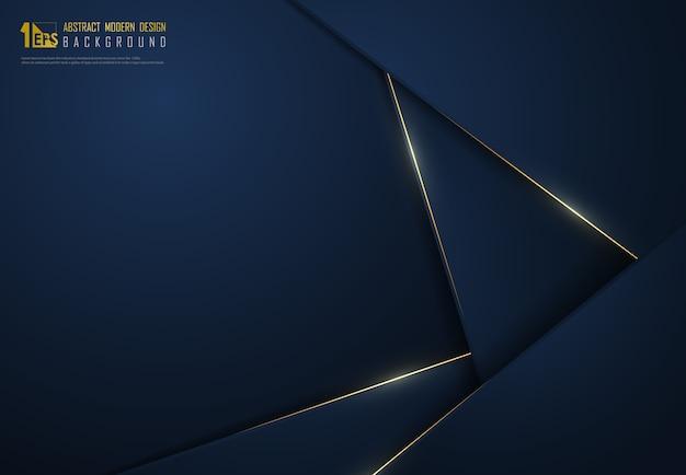 Le modèle bleu classique dégradé premium abstrait se chevauchent avec un fond de décoration de paillettes d'or.