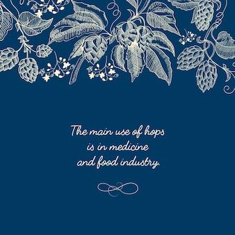 Modèle bleu de croquis botanique abstrait