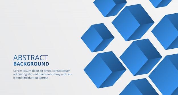 Modèle de bloc de cube en forme de boîte bleue 3d pour le fond