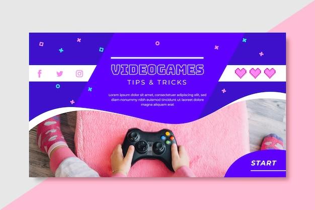 Modèle de blog de bannière de jeu vidéo
