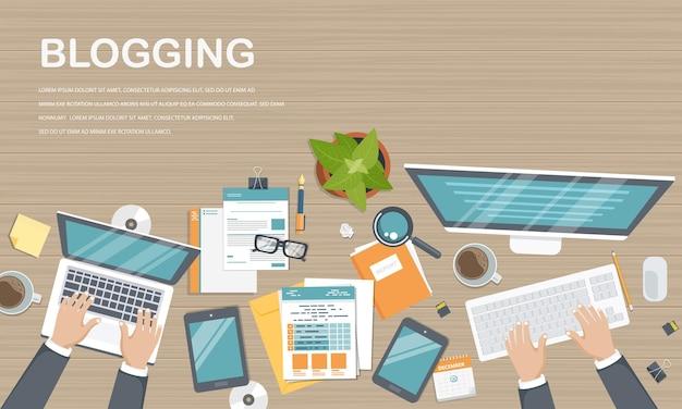 Modèle de blogging et journalisme, vue de dessus