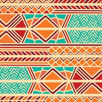 Modèle bohème ethnique coloré tribal avec des éléments géométriques, tissu de boue africaine, design tribal