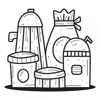 Modèle de boisson kawaii doodle