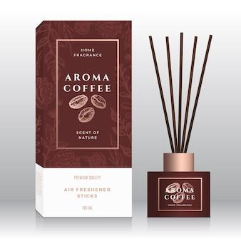 Modèle de boîte abstraite de bâtons de parfum de maison de grains de café.