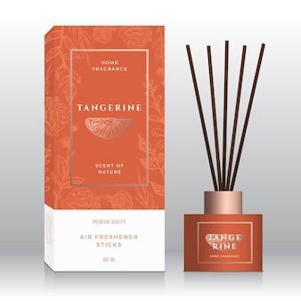 Modèle de boîte abstraite de bâtons de parfum de maison de mandarine.