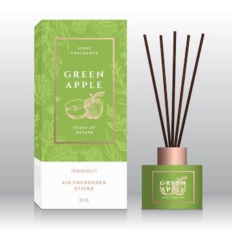 Modèle de boîte abstraite de bâtons de parfum de maison de pomme verte.