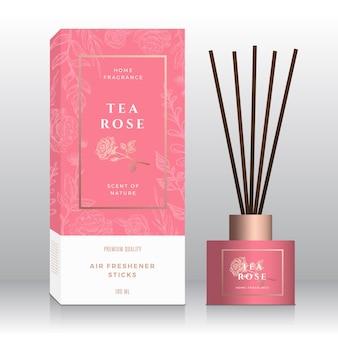 Modèle de boîte abstraite de bâtons de parfum de maison de rose de thé.
