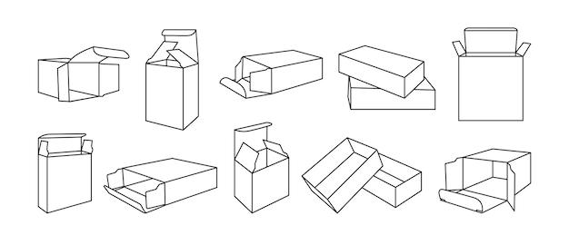 Modèle de boîte de ligne noire ensemble de contours de la collection de boîtes-cadeaux d'emballage de produit