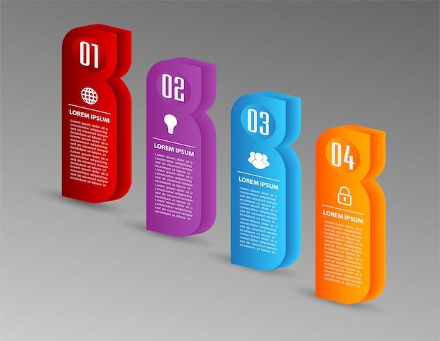 Modèle de boîte de texte 3d papier moderne, bannière infographique