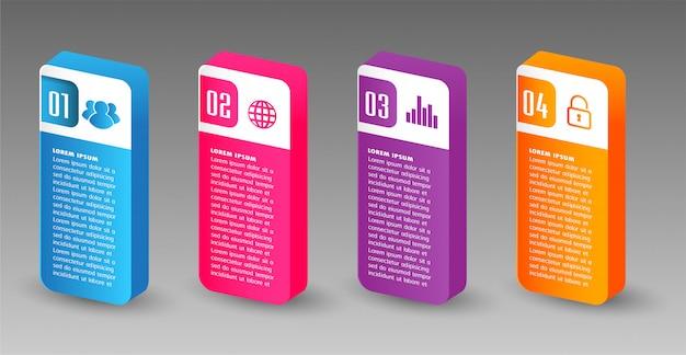 Modèle de boîte de texte papier moderne, bannière de bulle de discours 3d infographie