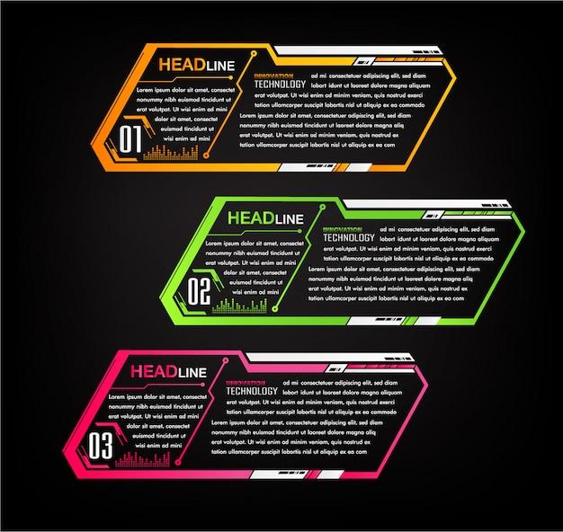 Modèle de boîte de texte papier moderne, bannière cyber infographique