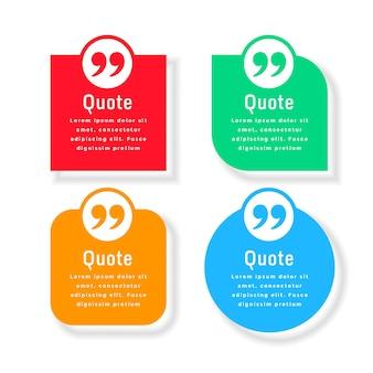 Modèle de boîtes à bulles de citations en quatre couleurs et formes