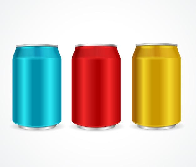 Modèle de boîtes colorées en aluminium isolé