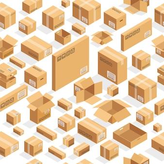 Modèle de boîtes marron en carton isométrique.