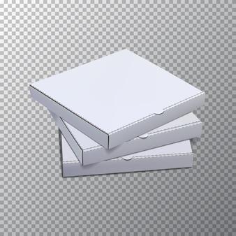 Modèle de boîtes à pizza isolé sur fond transparent.