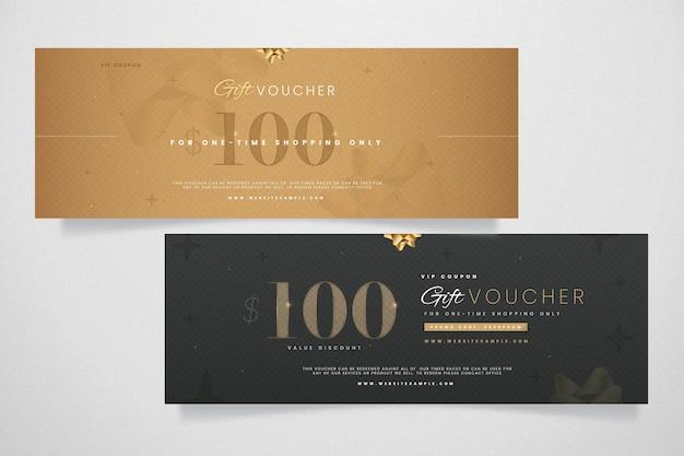 Modèle de bon cadeau design doré
