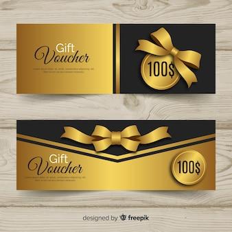Modèle de bon cadeau élégant avec style doré