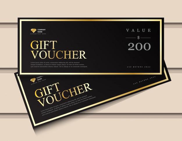 Modèle de bon cadeau avec des éléments de luxe en or scintillant.