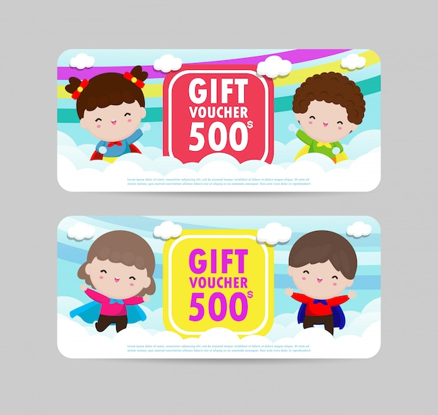 Modèle de bon cadeau et modèle moderne. concept de super-héros pour enfants. modèle de bon