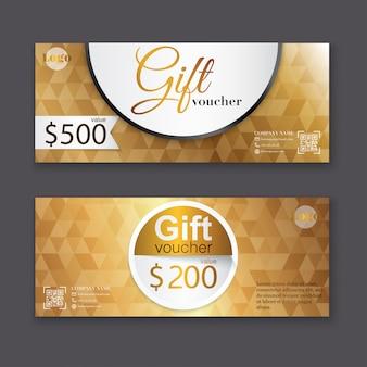 Modèle de bon cadeau avec motif or, certificat. coupon de conception d'arrière-plan, invitation, monnaie. illustration.