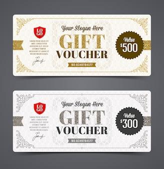 Modèle de bon cadeau avec des paillettes d'or et d'argent, illustration,