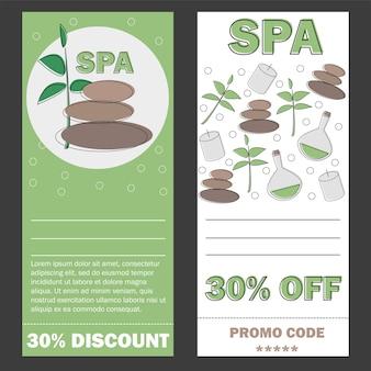 Modèle de bon cadeau pour spa, hotel resort, bannière d'illustration vectorielle - carte de réduction