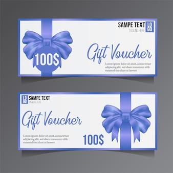 Modèle de bon cadeau avec ruban bleu