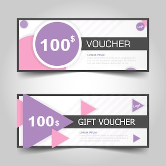 Modèle De Bon De Cadeau Violet Rose Avec Motif Vecteur gratuit