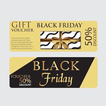 Modèle de bon de carte de vendredi noir avec fond d'or