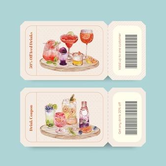 Modèle de bon avec concept de boissons rafraîchissantes, style aquarelle