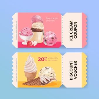 Modèle de bon avec concept de saveur de crème glacée, style aquarelle