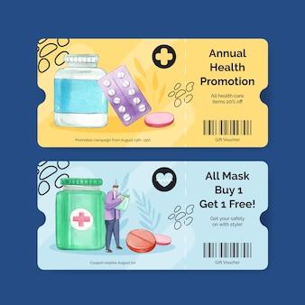 Modèle de bon avec la journée mondiale des pharmaciens dans un style aquarelle