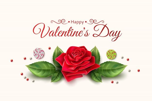 Modèle de bonbons fleur rose vecteur saint valentin