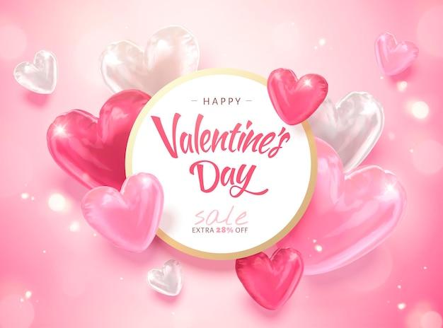 Modèle de bonne saint-valentin avec des ballons en forme de coeur en illustration 3d