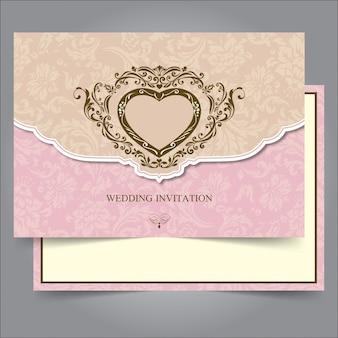 Modèle de bordure et cadre invitation de mariage vintage