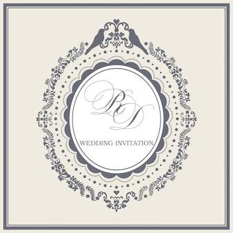 Modèle de bordure et cadre d'invitation de mariage vintage