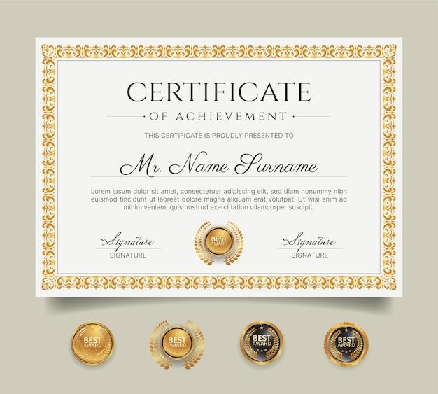 Modèle de bordure de certificat d'appréciation avec dessin au trait or et badges
