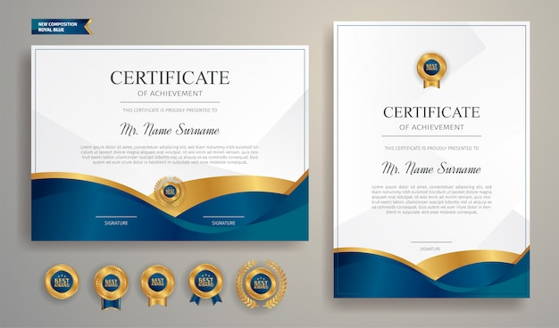 Modèle de bordure de certificat bleu et or avec badge de luxe et motif de ligne moderne. pour les récompenses, les affaires et les besoins en éducation
